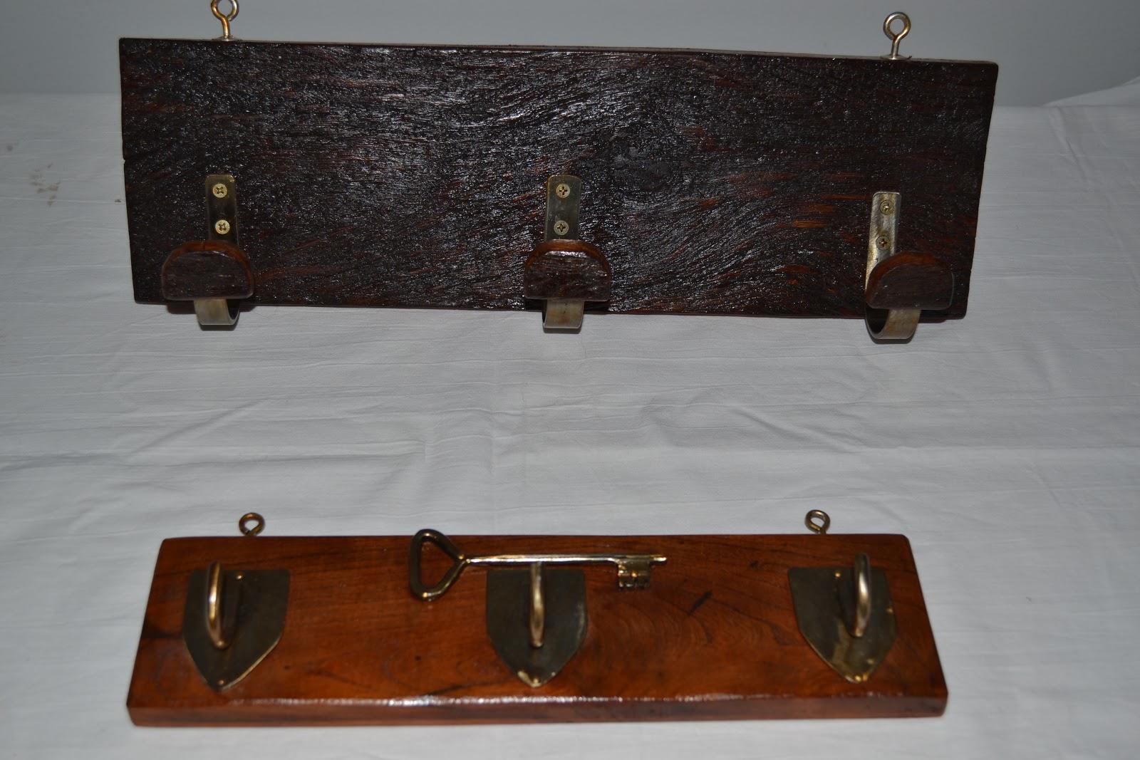 4 - O. Gonzalez perchero pared llavero porta llaves madera y hierro